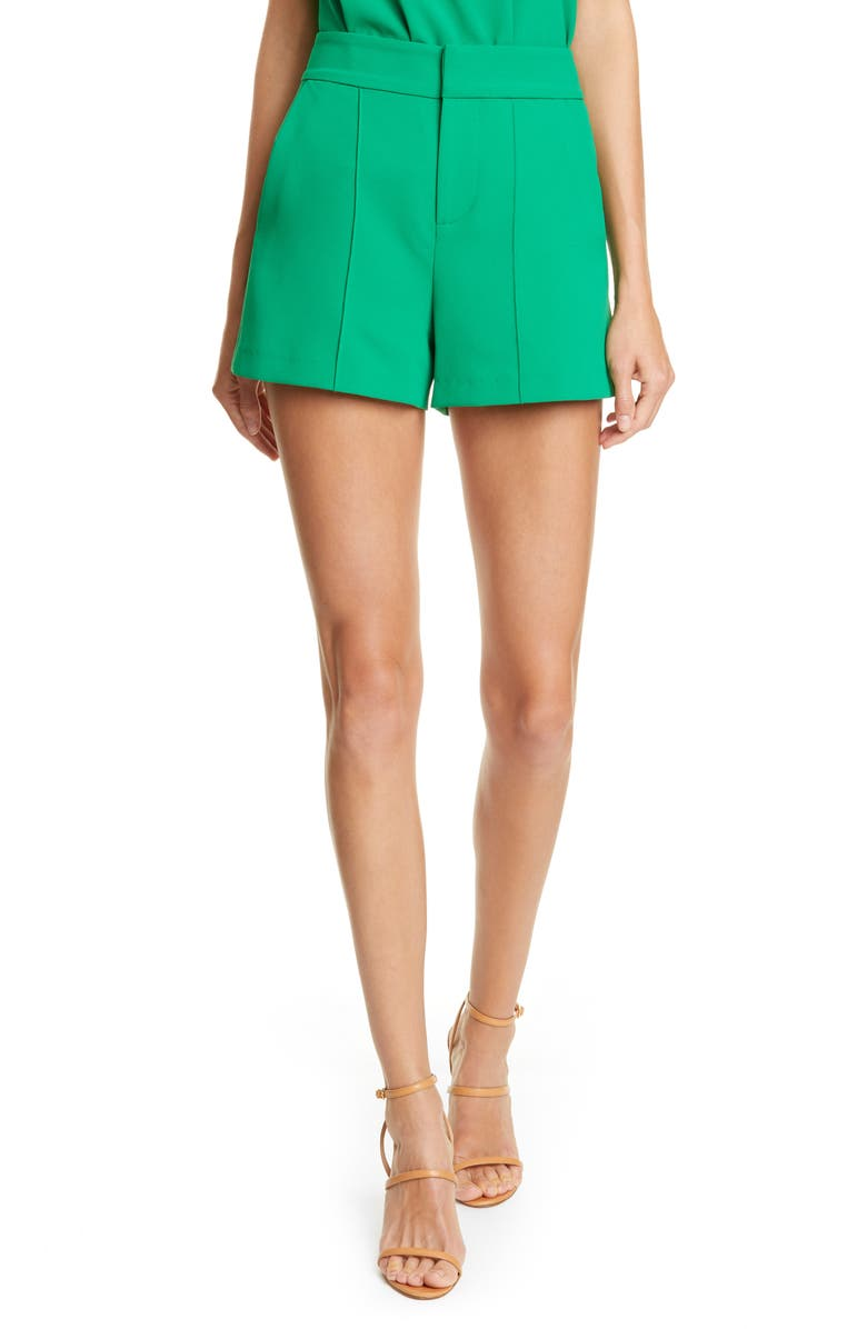 ALICE + OLIVIA Dylan High Waist Clean Fit Pintuck Shorts, Main, color, EMERALD