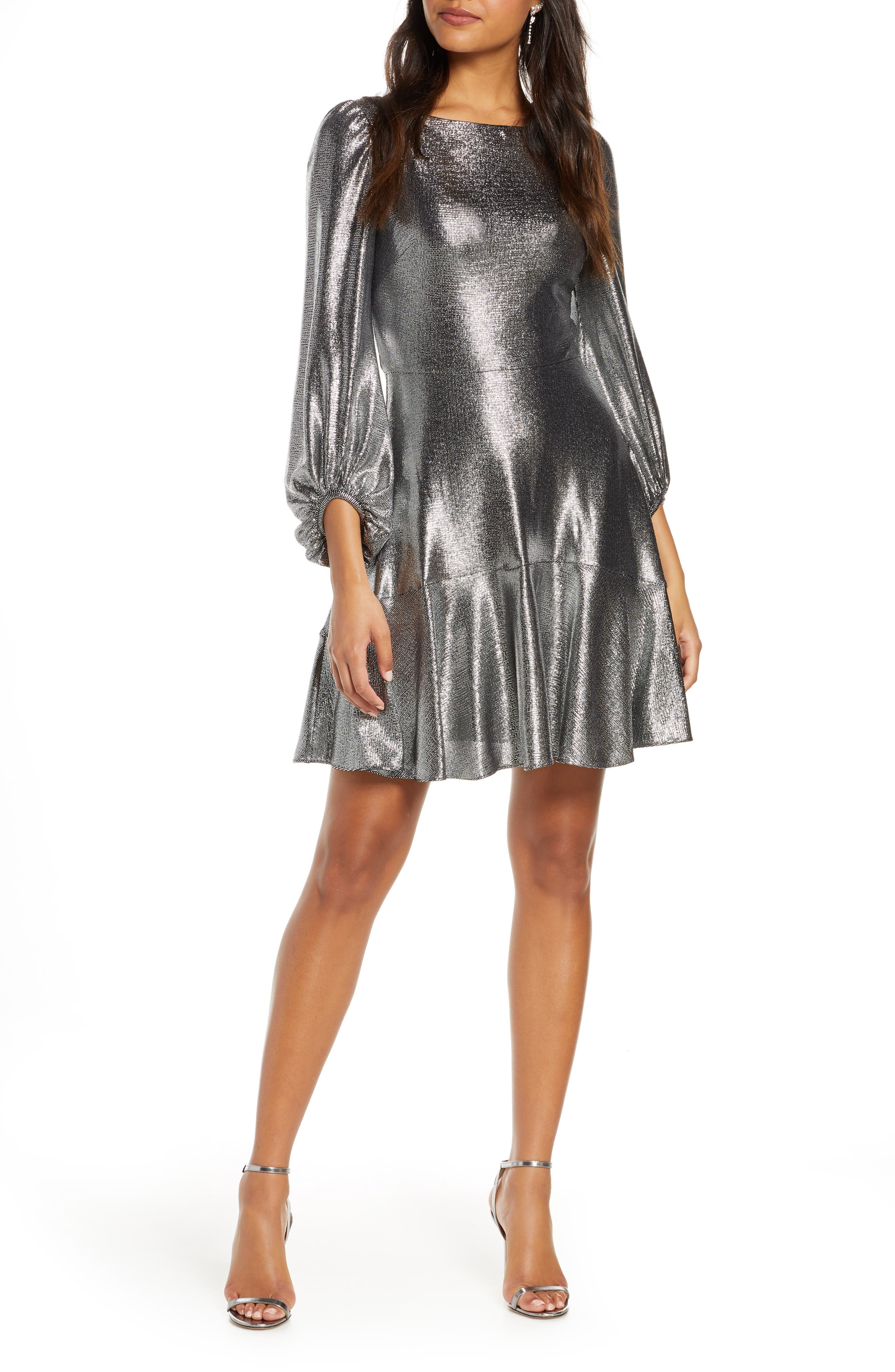 1980s Clothing, Fashion | 80s Style Clothes ELIZA J Long Sleeve Metallic Jersey Cocktail Dress Size 14 in Silver at Nordstrom Rack $64.97 AT vintagedancer.com