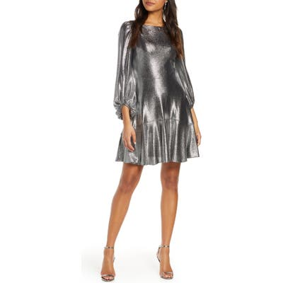 Eliza J Long Sleeve Metallic Jersey Cocktail Dress, Metallic