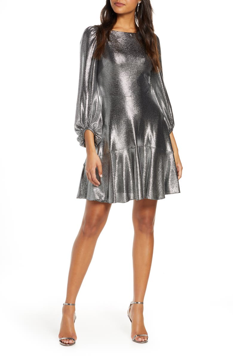 ELIZA J Long Sleeve Metallic Jersey Cocktail Dress, Main, color, SILVER
