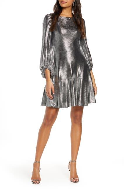 Image of Eliza J Long Sleeve Metallic Jersey Cocktail Dress