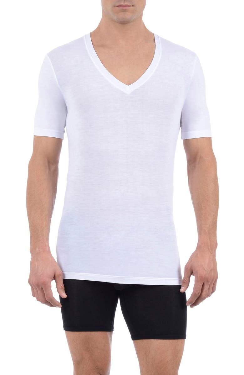 TOMMY JOHN Cool Cotton Deep V-Neck Undershirt, Main, color, WHITE