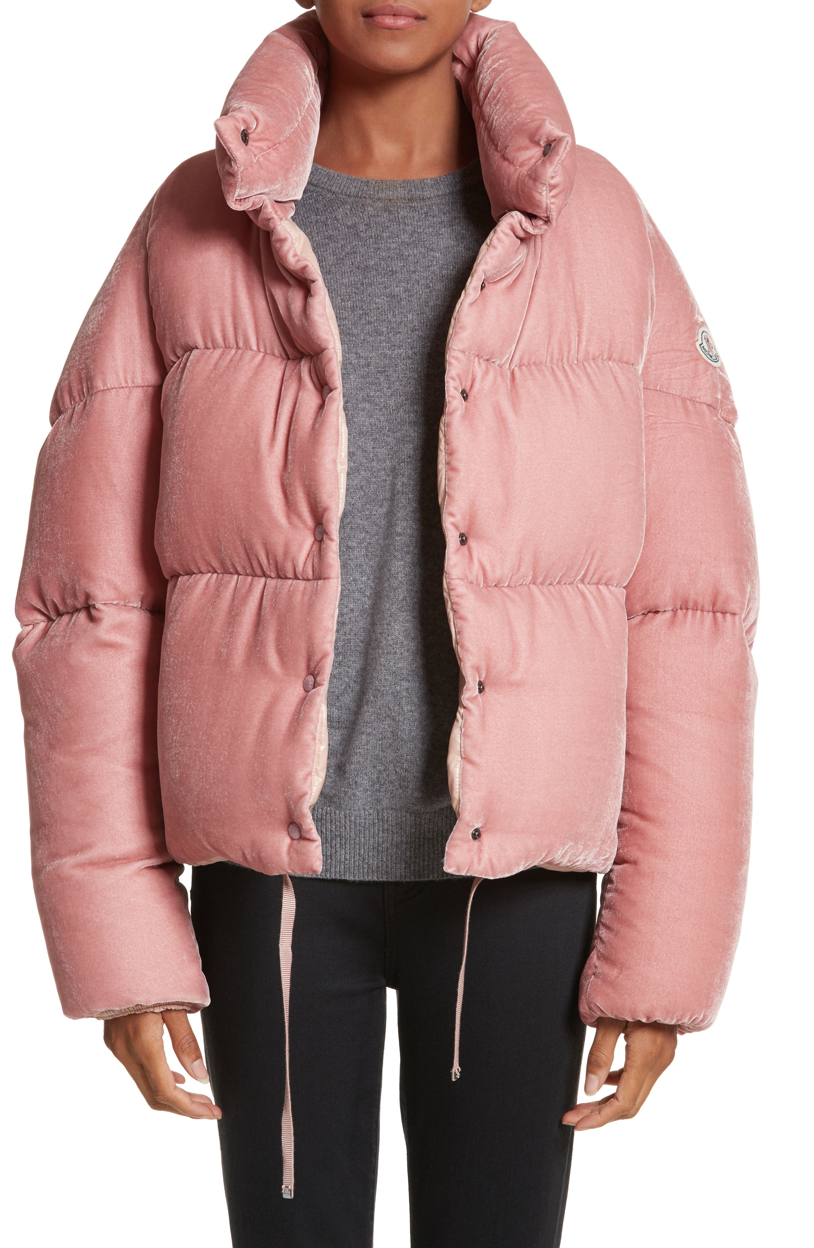 Moncler Cercis Velvet Quilted Down Puffer Coat, Pink