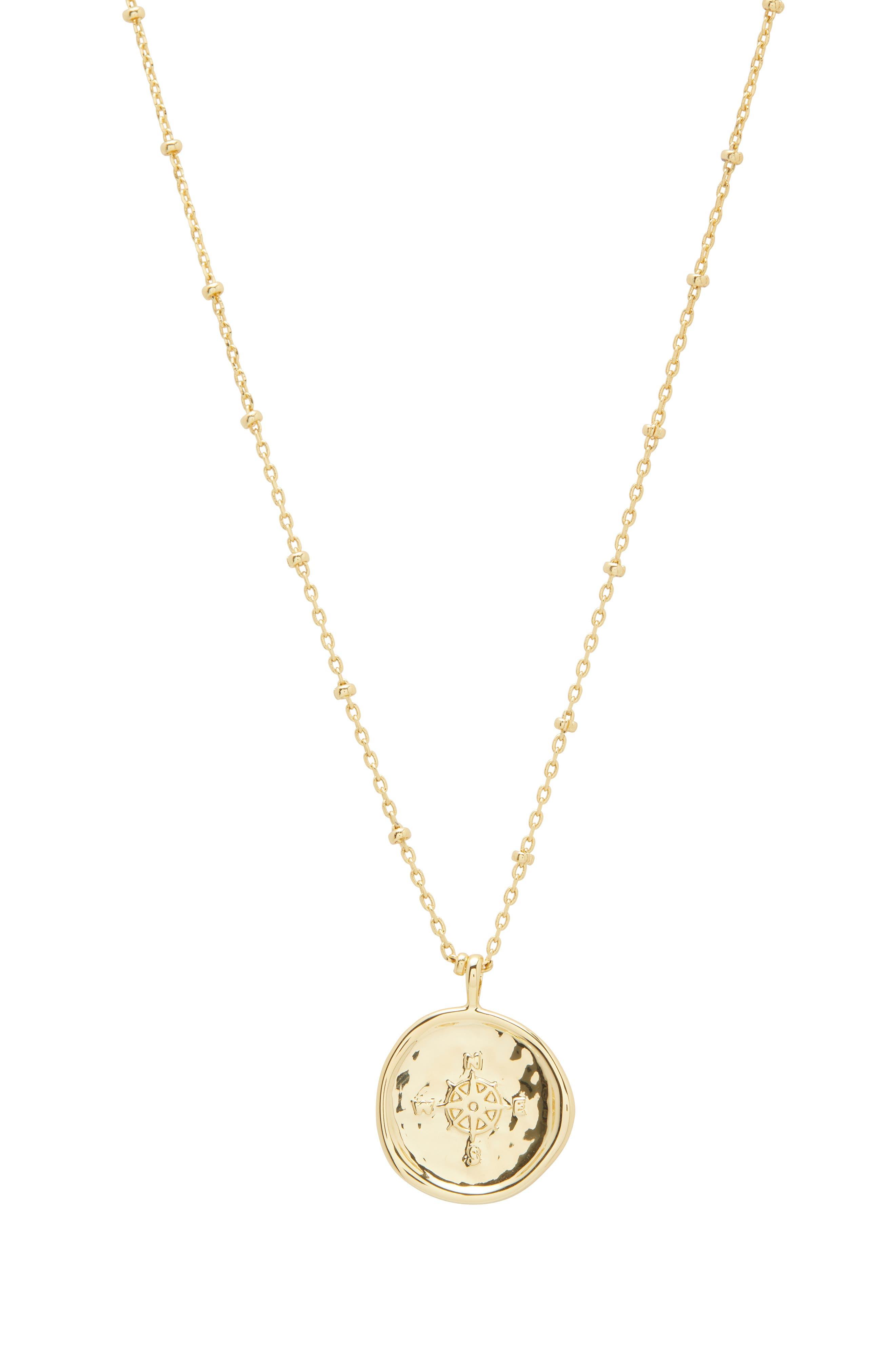 Compass Coin Pendant Necklace