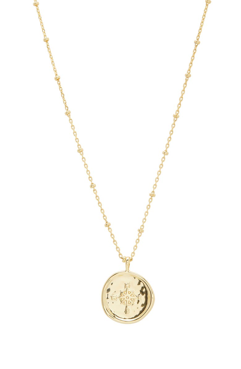 GORJANA Compass Coin Pendant Necklace, Main, color, GOLD