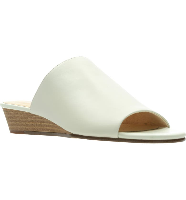 CLARKS<SUP>®</SUP> Mena Rose Slide Wedge Sandal, Main, color, WHITE LEATHER
