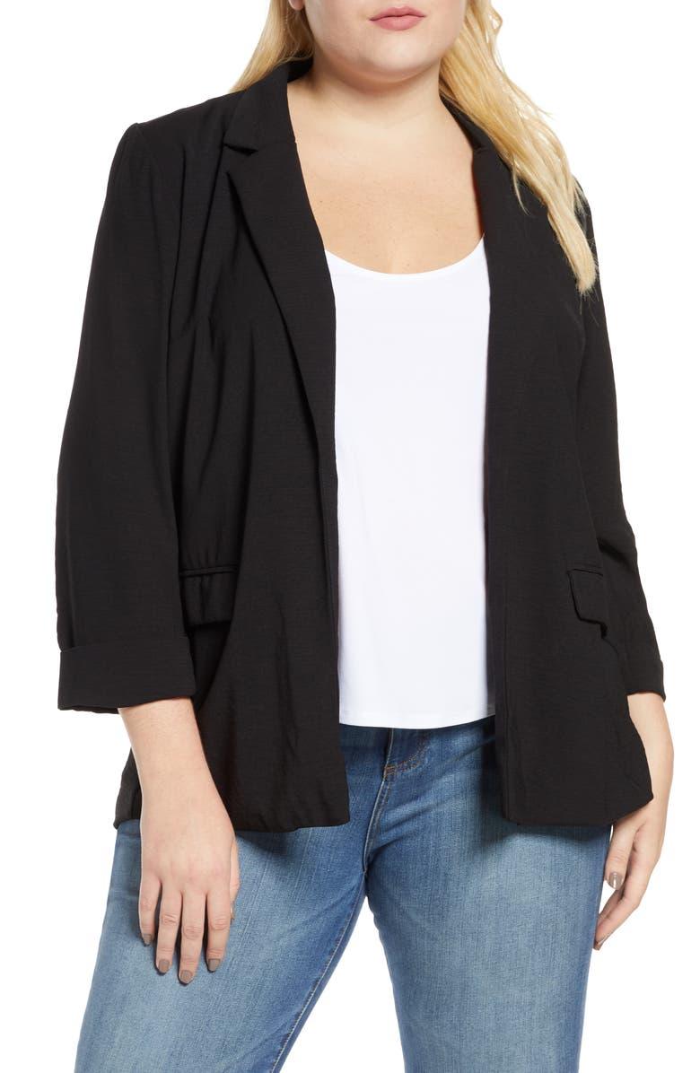 BOBEAU Teri Open Front Blazer, Main, color, BLACK/ BLACK