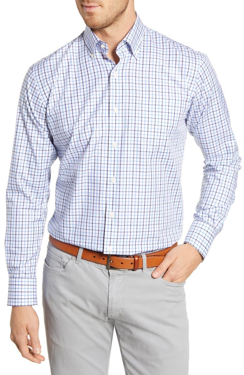 PETER MILLAR Emerald Regular Fit Tattersall Button-Down Shirt, Main, color, LIBERTY BLUE