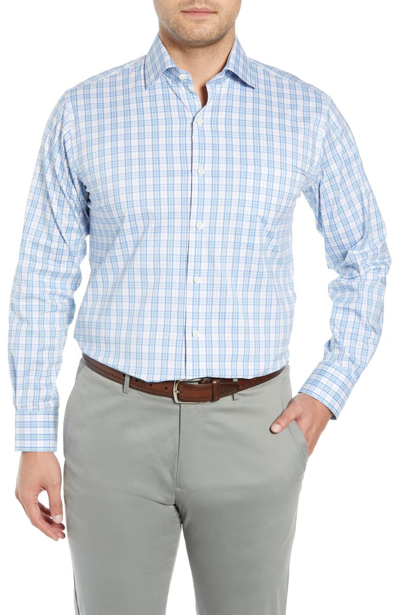 PETER MILLAR Portofino Tartan Performance Sport Shirt, Main, color, 425
