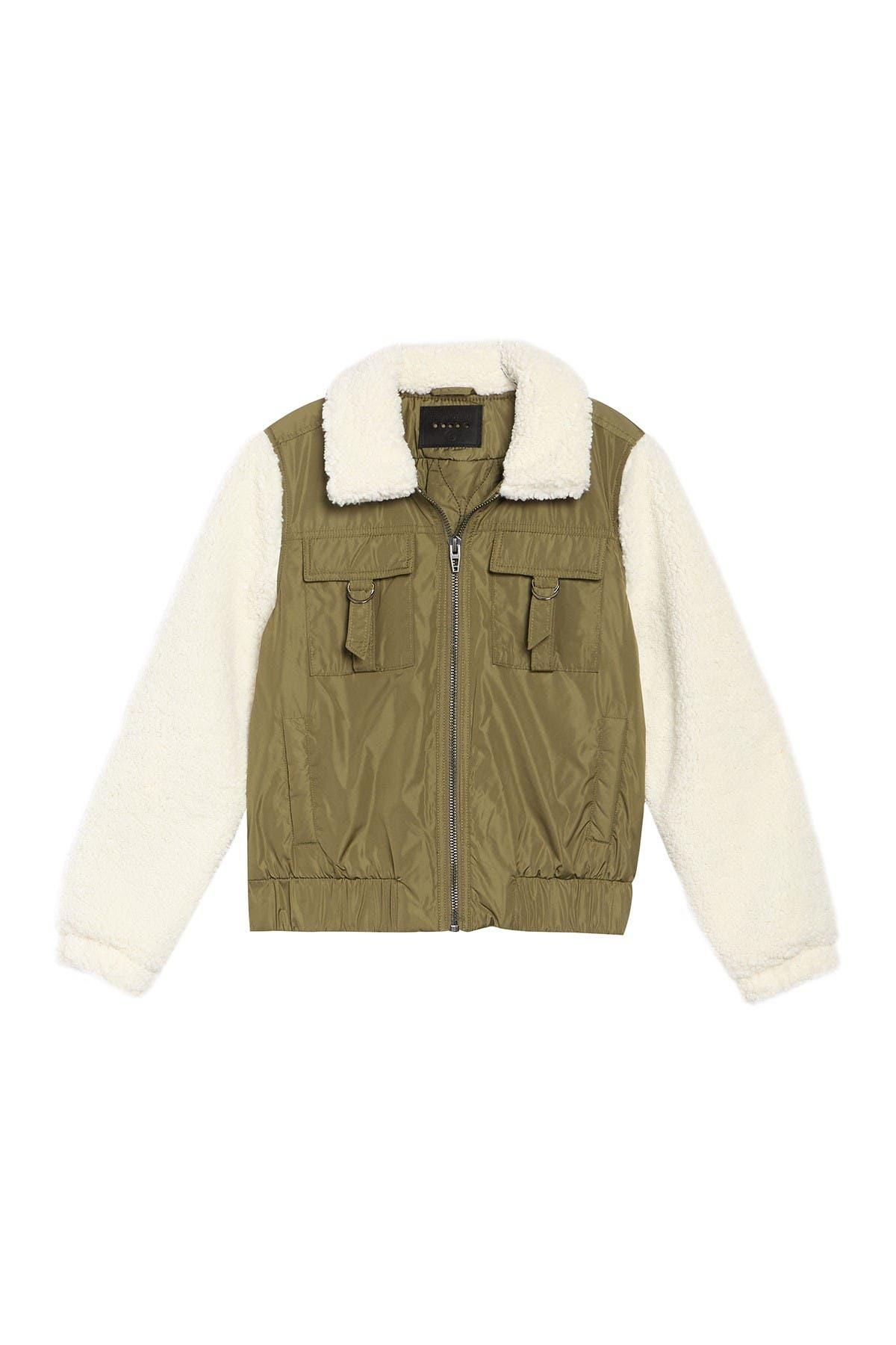 Image of BLANKNYC Denim Faux Shearling Sleeve Utility Bomber Jacket
