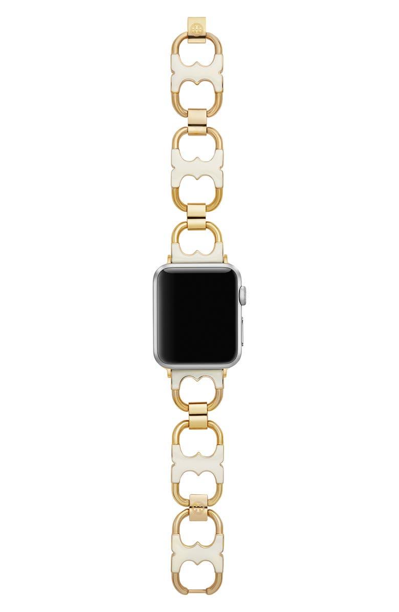 토리버치 Tory Burch Double-T Link Apple Watch Bracelet,ivory