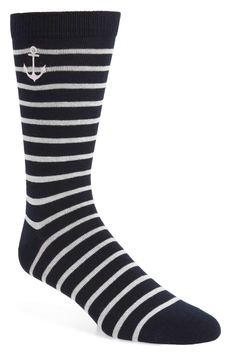 1901 Embroidered Anchor Stripe Socks, Main, color, NAVY/ WHITE