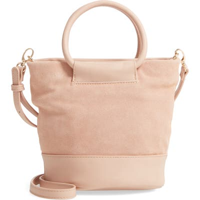 Sole Society Debdi Suede & Faux Leather Crossbody Bag - Pink