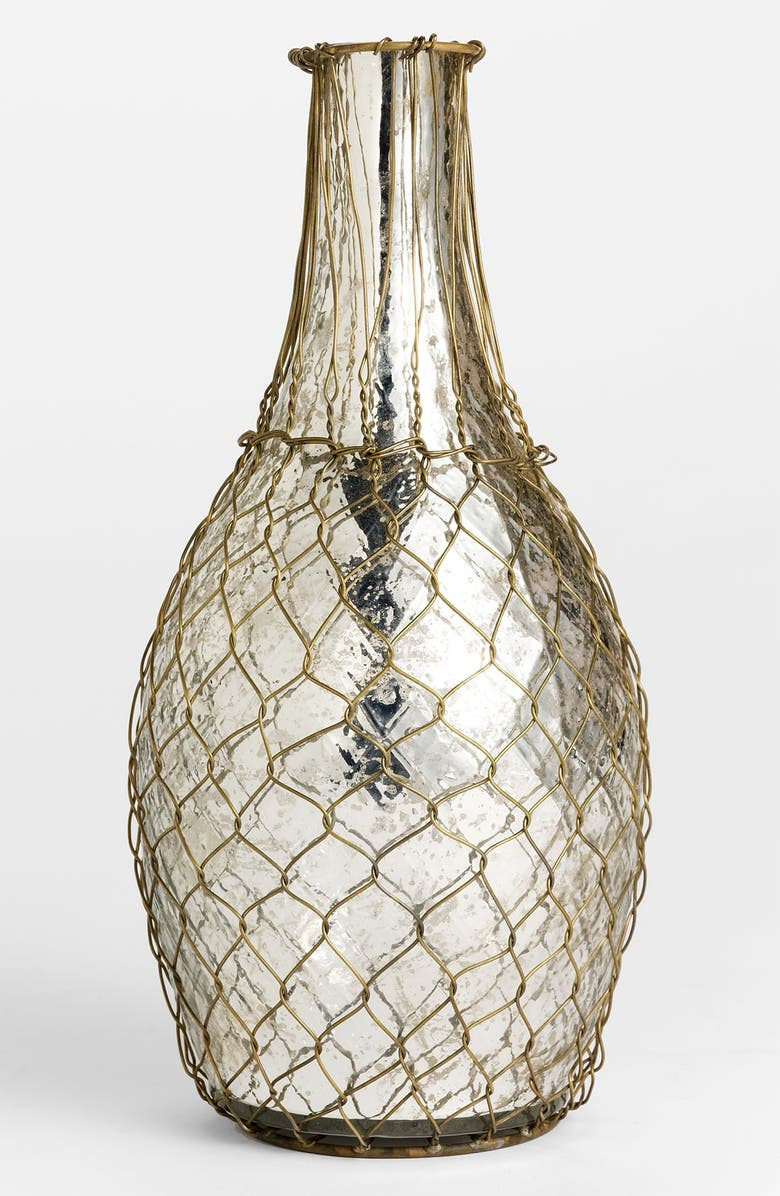 Wire-Wrapped Mercury Glass Vase, Tall