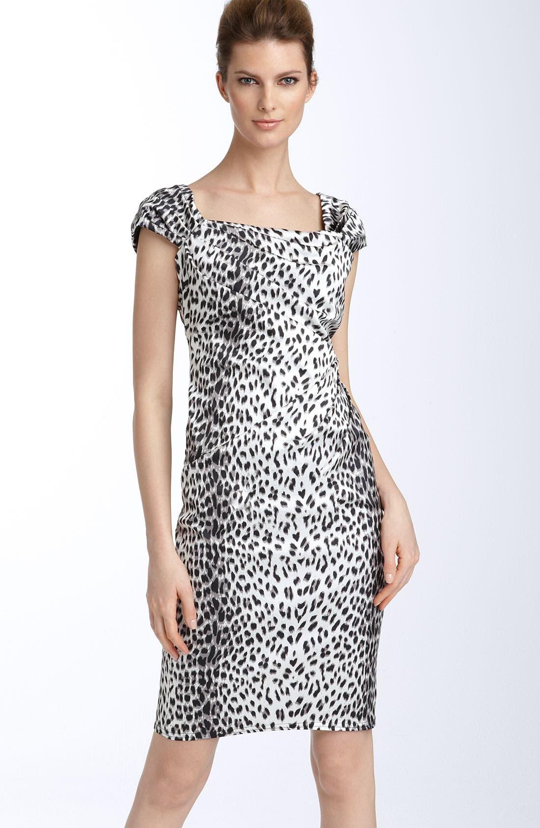 Leopard Print Stretch Satin Sheath Dress, Main, color, 001