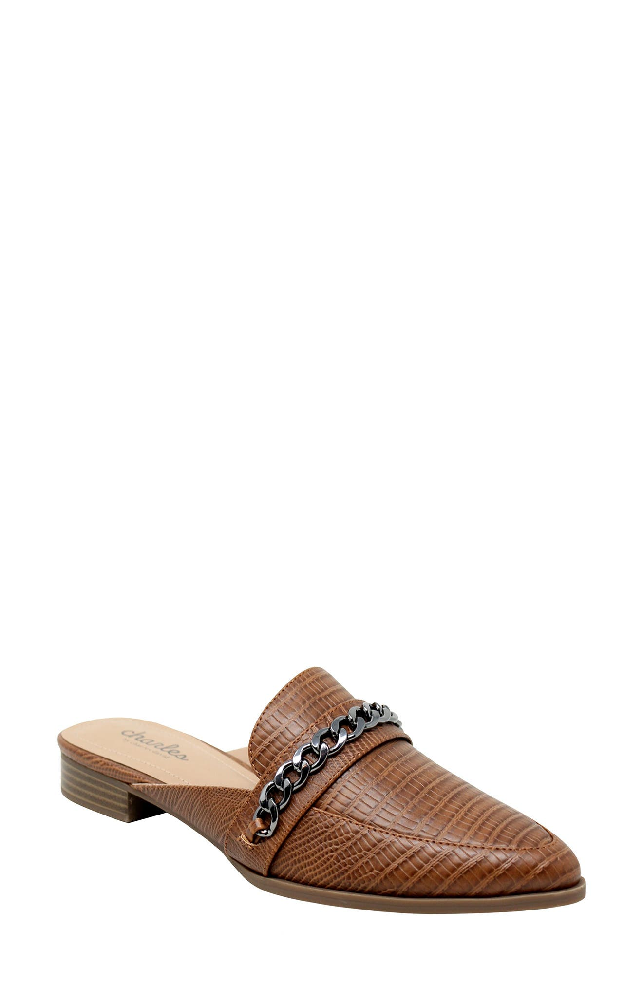 Emblem Chain Reptile Embossed Pointed Toe Mule