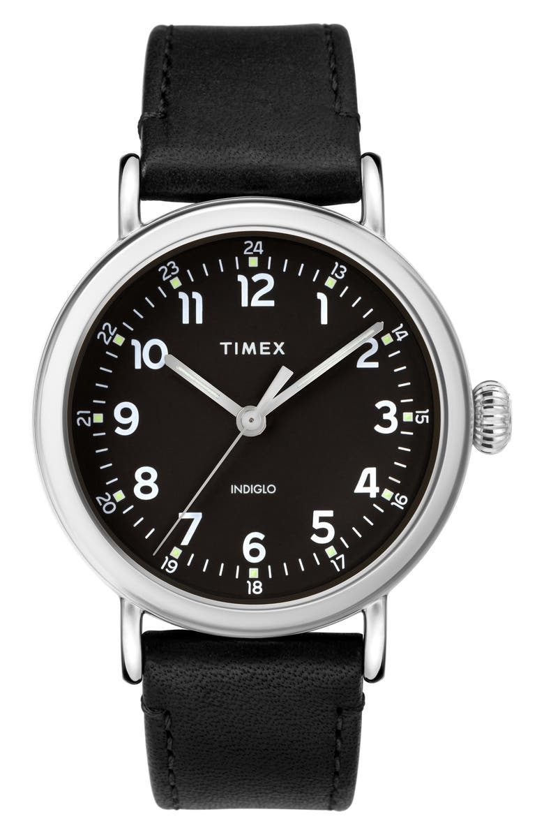 TIMEX<SUP>®</SUP> Standard Leather Strap Watch, 40mm, Main, color, 001