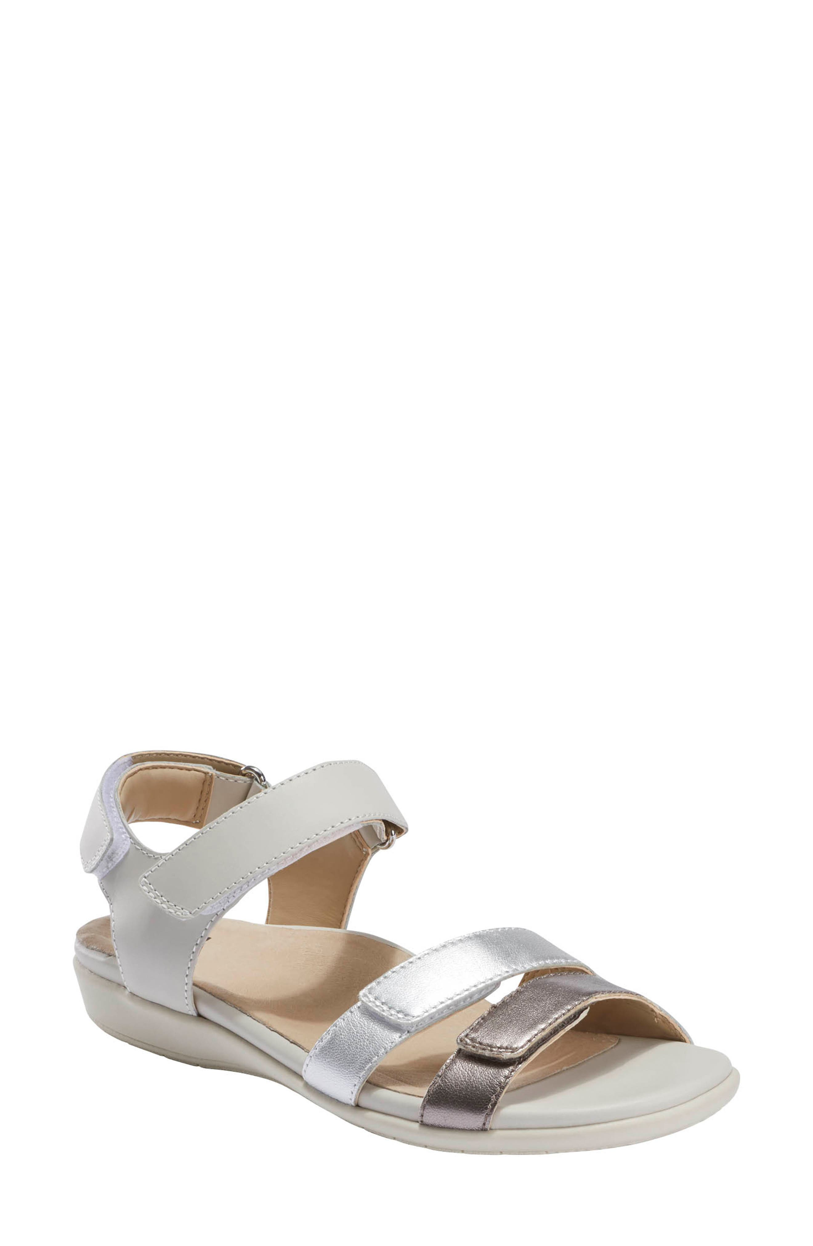 An anatomical Contoured Earth Powerpath footbed with arch support and energy-return foam cushioning offers serious comfort in this breezy elastic-strap sandal. Style Name: Earth Alder Amal Sandal (Women). Style Number: 6024110 1. Available in stores.