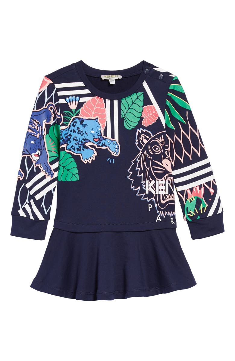 KENZO Multi Iconics Sweatshirt Dress, Main, color, 410