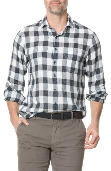 Image of RODD AND GUNN City Block Regular Fit Check Linen Button-Up Shirt
