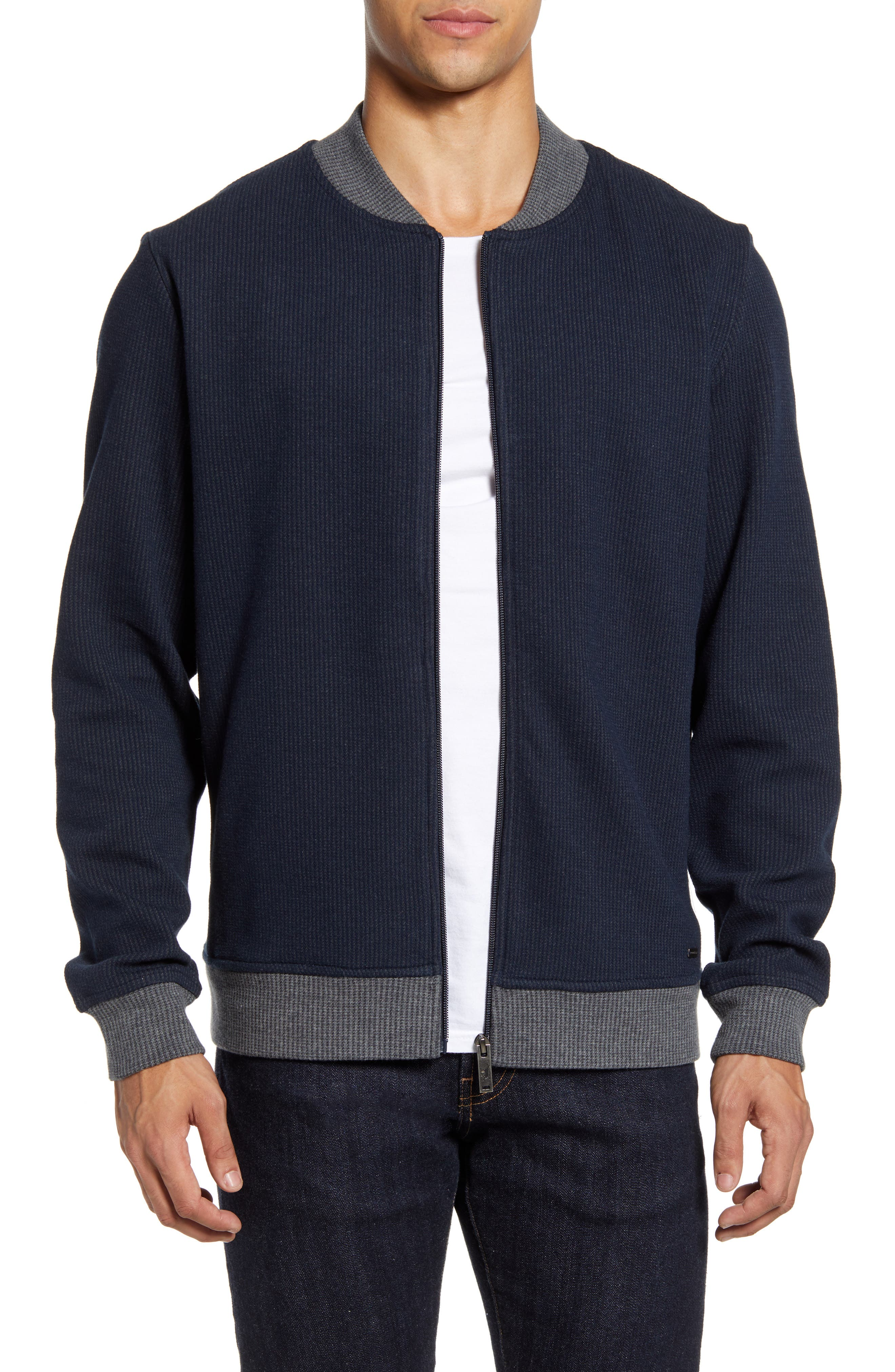 Image of RODD AND GUNN Midnight Ribbed Bomber Jacket