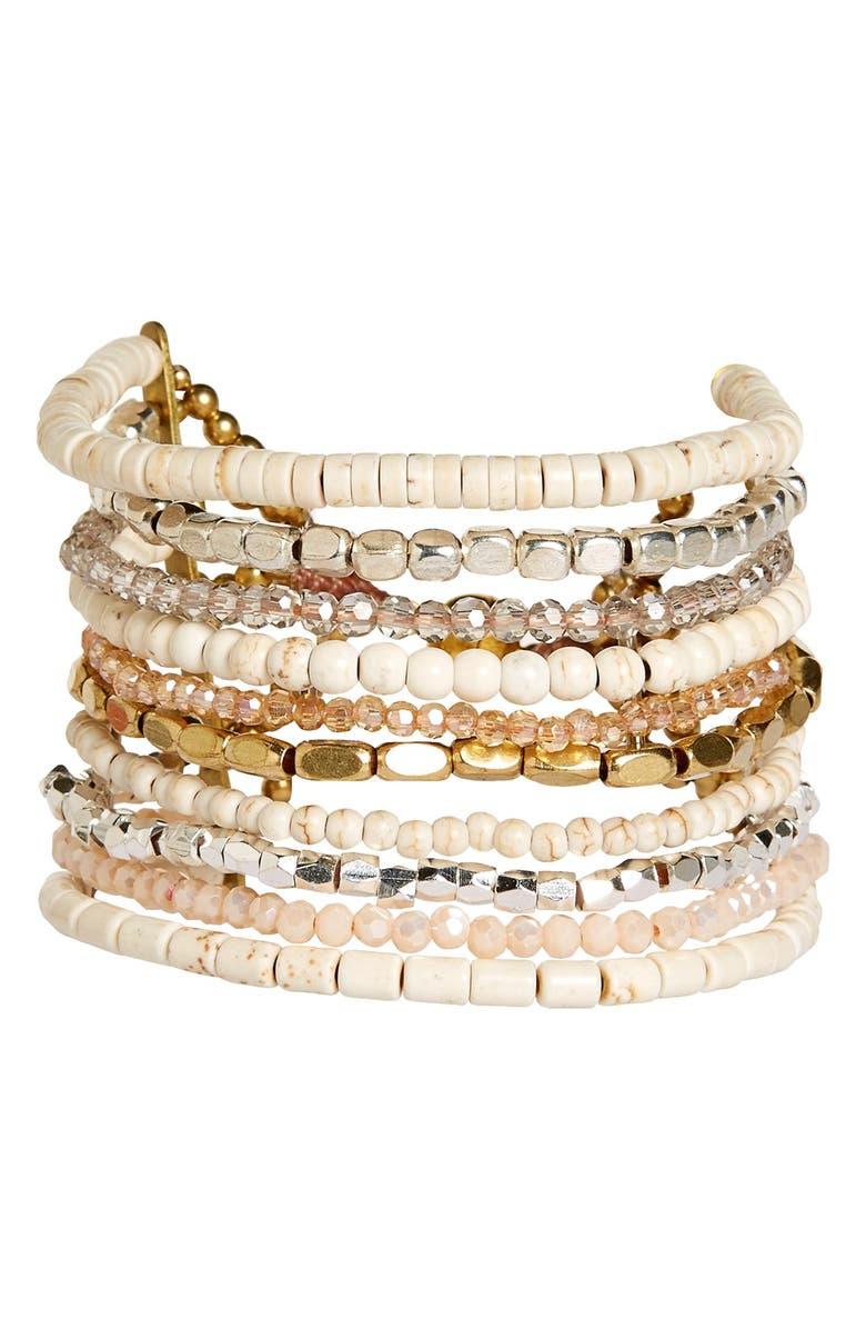 PANACEA Howlite Multistrand Bracelet, Main, color, 100