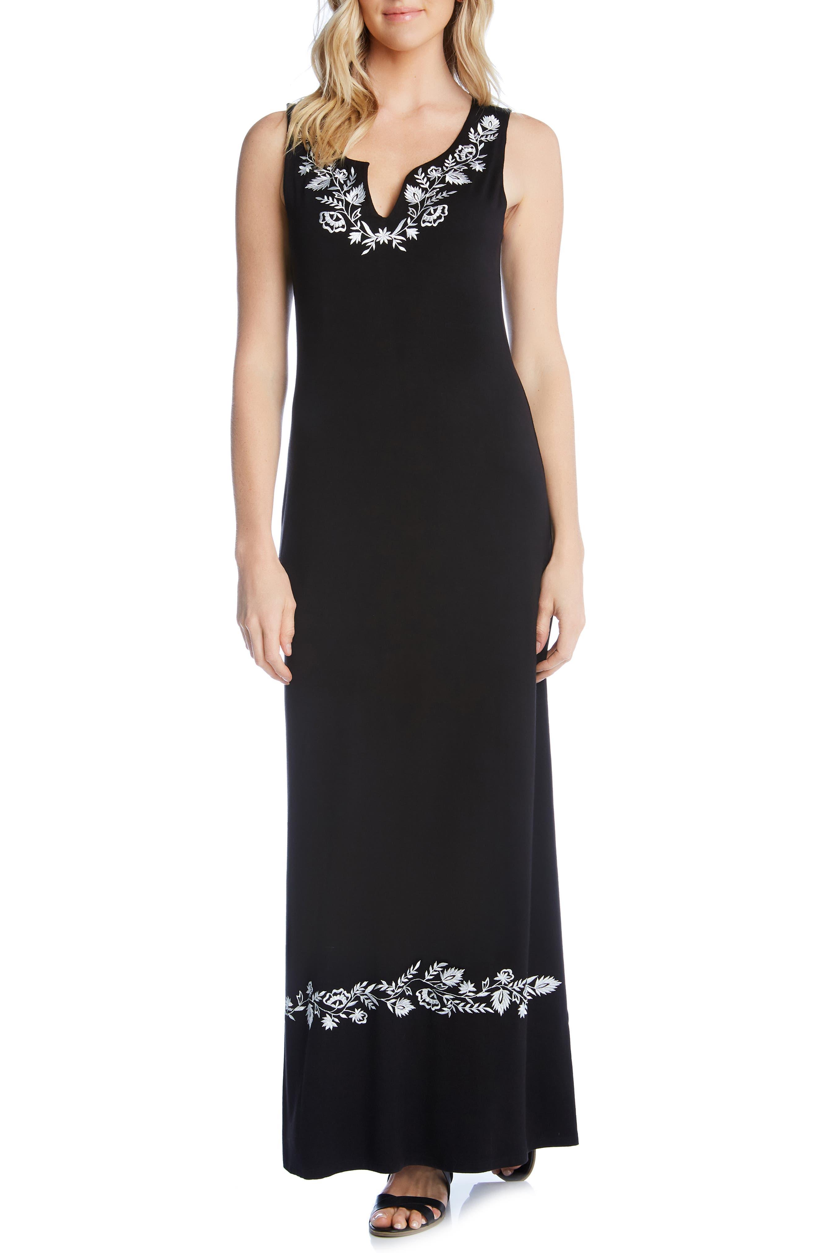 54869b104414 Karen Kane Embroidered Maxi Dress, Black