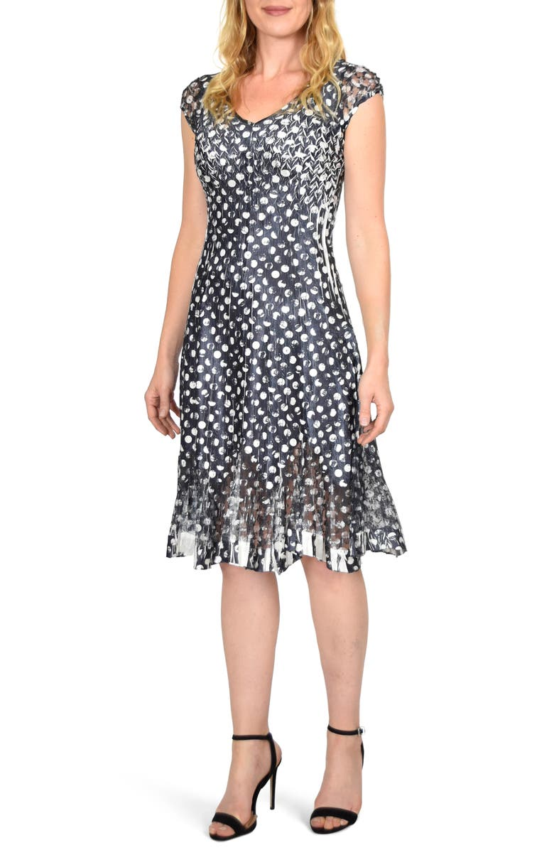 KOMAROV Chiffon & Charmeuse Cocktail Dress, Main, color, DISTRESSED DOT