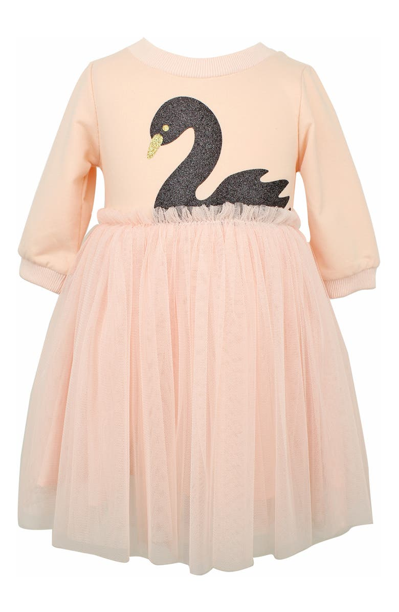POPATU Glitter Swan Tulle Dress, Main, color, PINK