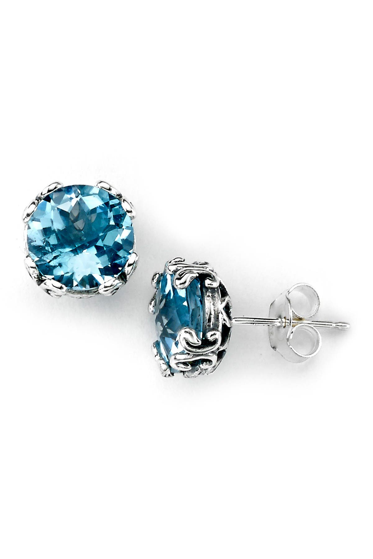 Image of Samuel B Jewelry Sterling Silver Round Blue Topaz Stud Earrings