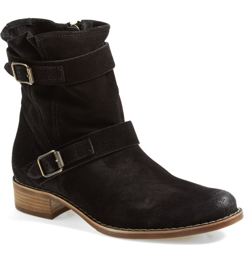 PAUL GREEN 'Ally' Belted Suede Moto Boot, Main, color, 002
