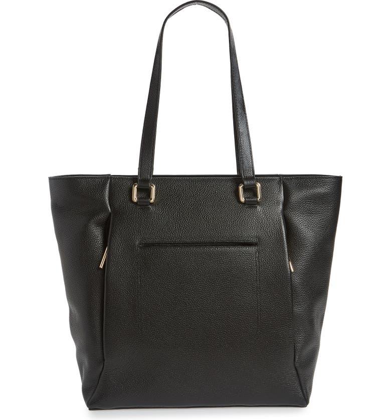 NORDSTROM Olivia Core Leather Tote, Main, color, BLACK