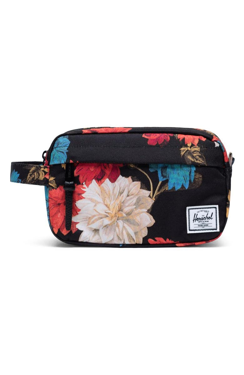 HERSCHEL SUPPLY CO. Chapter Carry-On Dopp Kit, Main, color, VINTAGE FLORAL BLACK