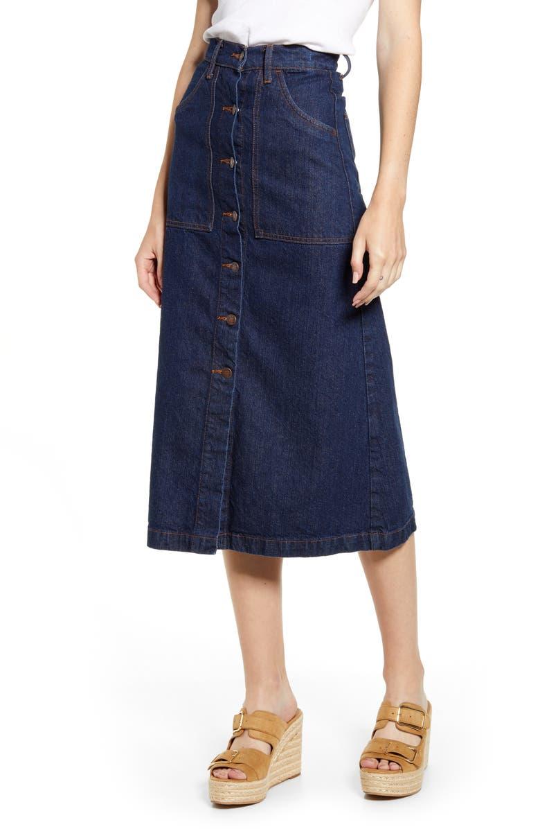 LUCKY BRAND Button-Through Denim Skirt, Main, color, LIVINGSTON