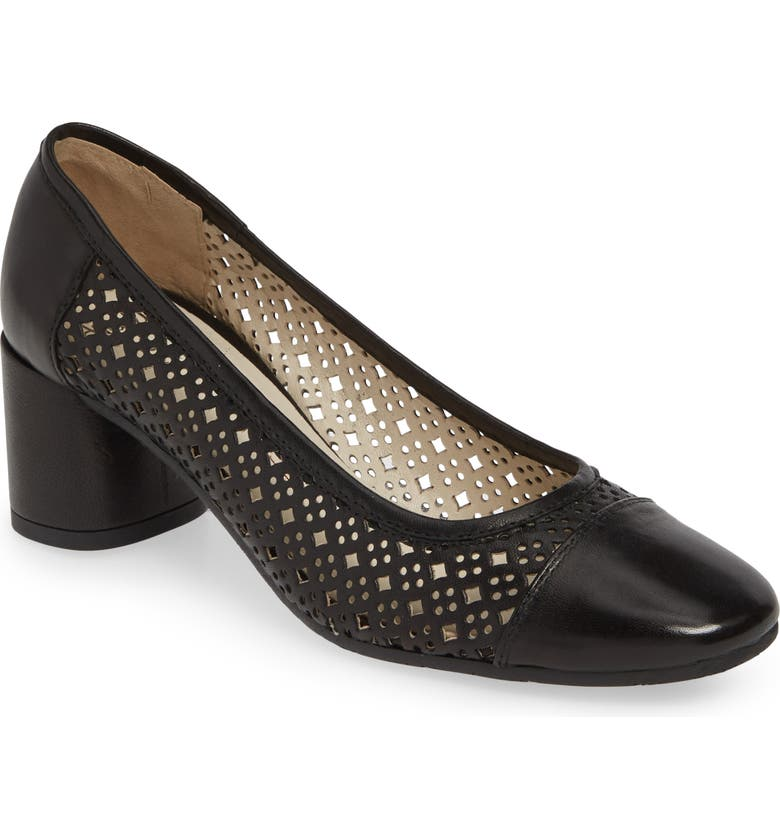 AMALFI BY RANGONI Rodeo Perforated Pump, Main, color, BLACK LEATHER