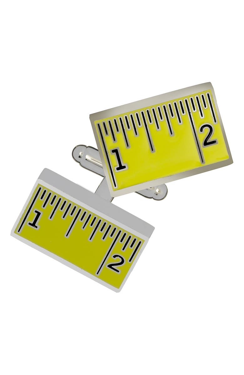 LINK UP Measuring Tape Cuff Links, Main, color, YELLOW