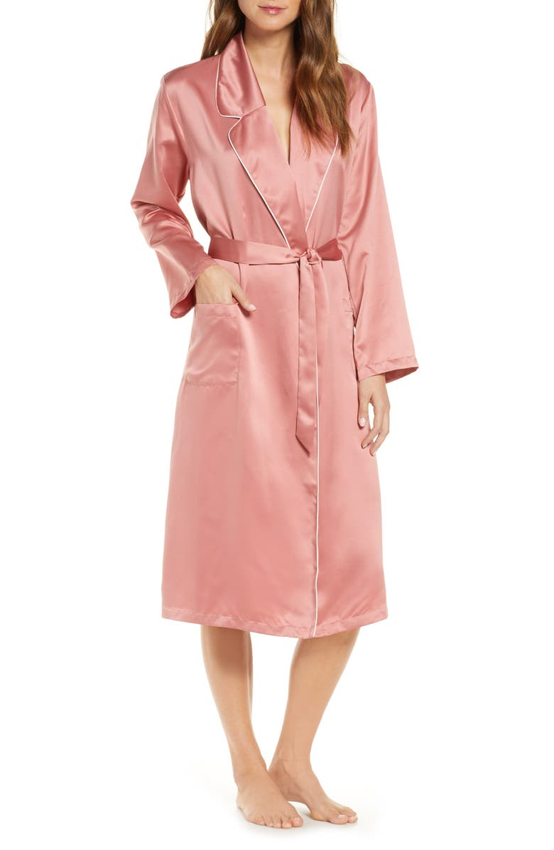 RACHEL PARCELL Satin Robe, Main, color, PINK COMPACT