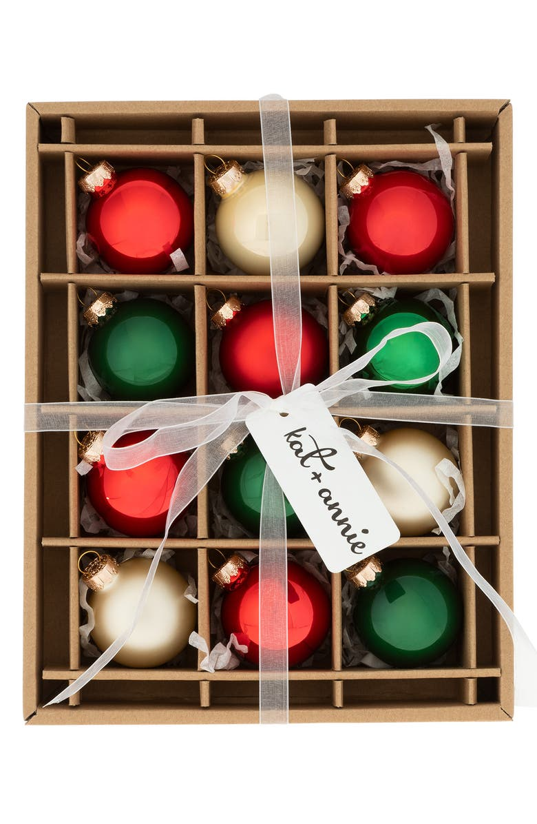 KAT + ANNIE Holiday Farmhouse Set of 12 Ball Ornaments, Main, color, RED