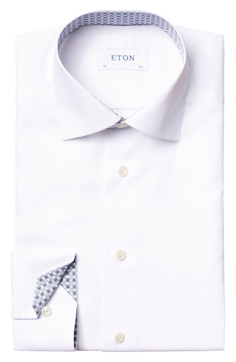 ETON Slim Fit Solid Dress Shirt, Main, color, WHITE