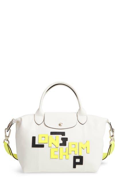 Longchamp Totes SMALL LE PLIAGE LOGO LEATHER TOTE - WHITE