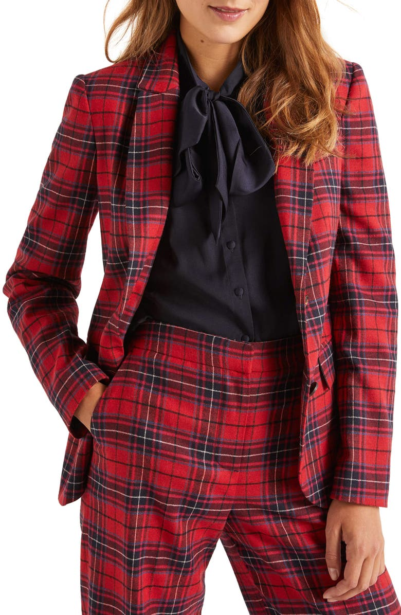 BODEN Inverness Red Plaid Blazer, Main, color, 614