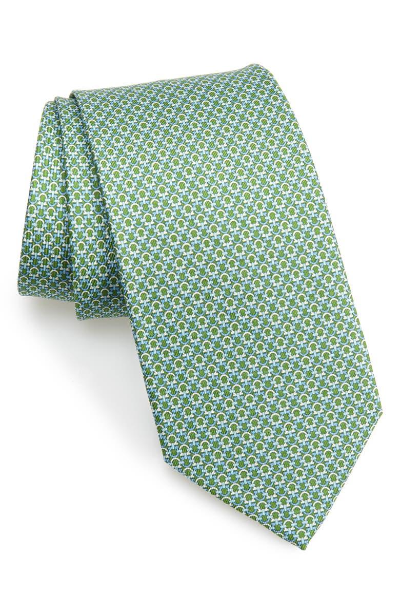 SALVATORE FERRAGAMO Gancini Pattern Silk Tie, Main, color, 394