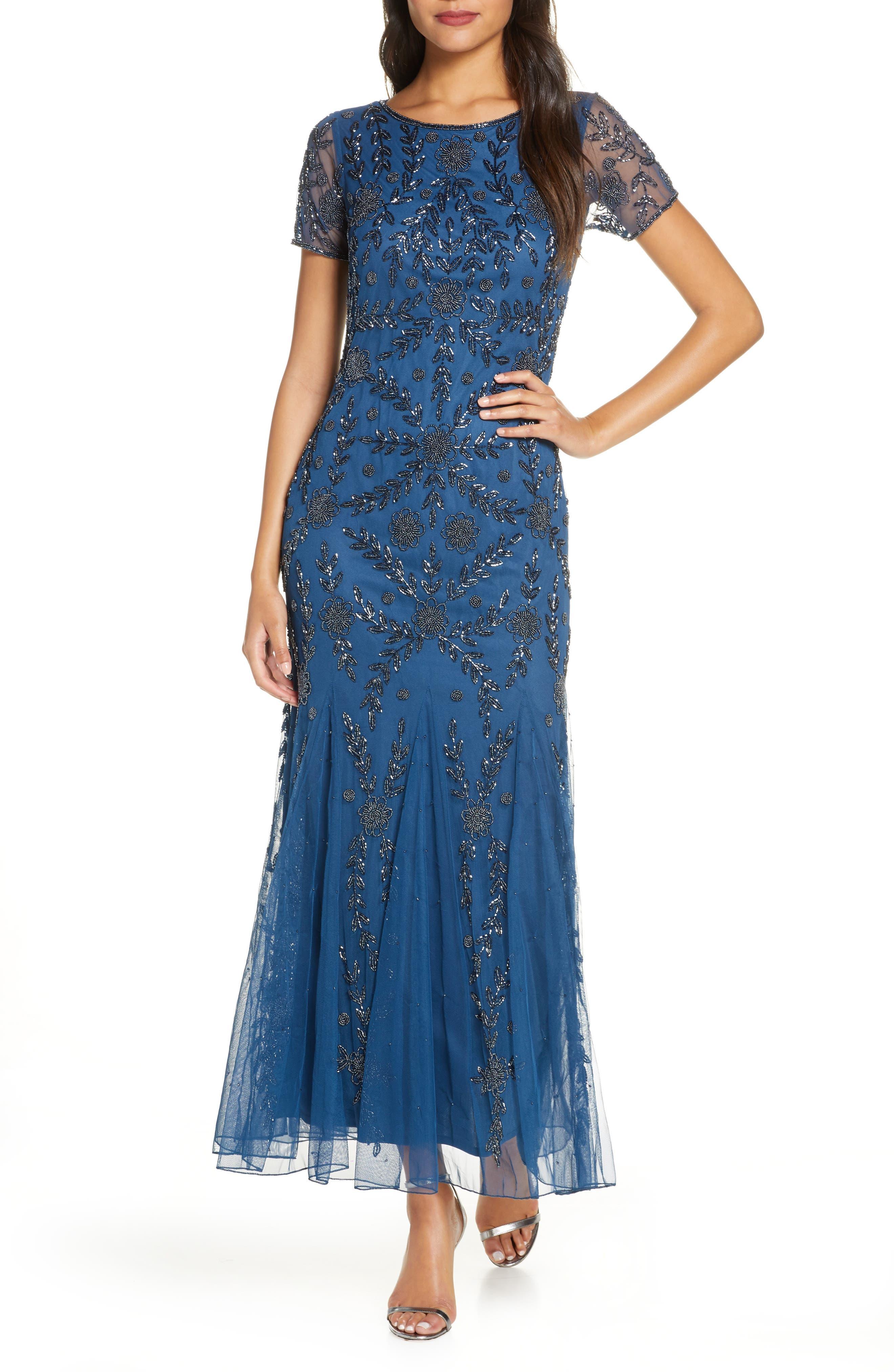 1920s Style Dresses, 20s Dresses Womens Pisarro Nights Embellished Mesh Gown $142.80 AT vintagedancer.com