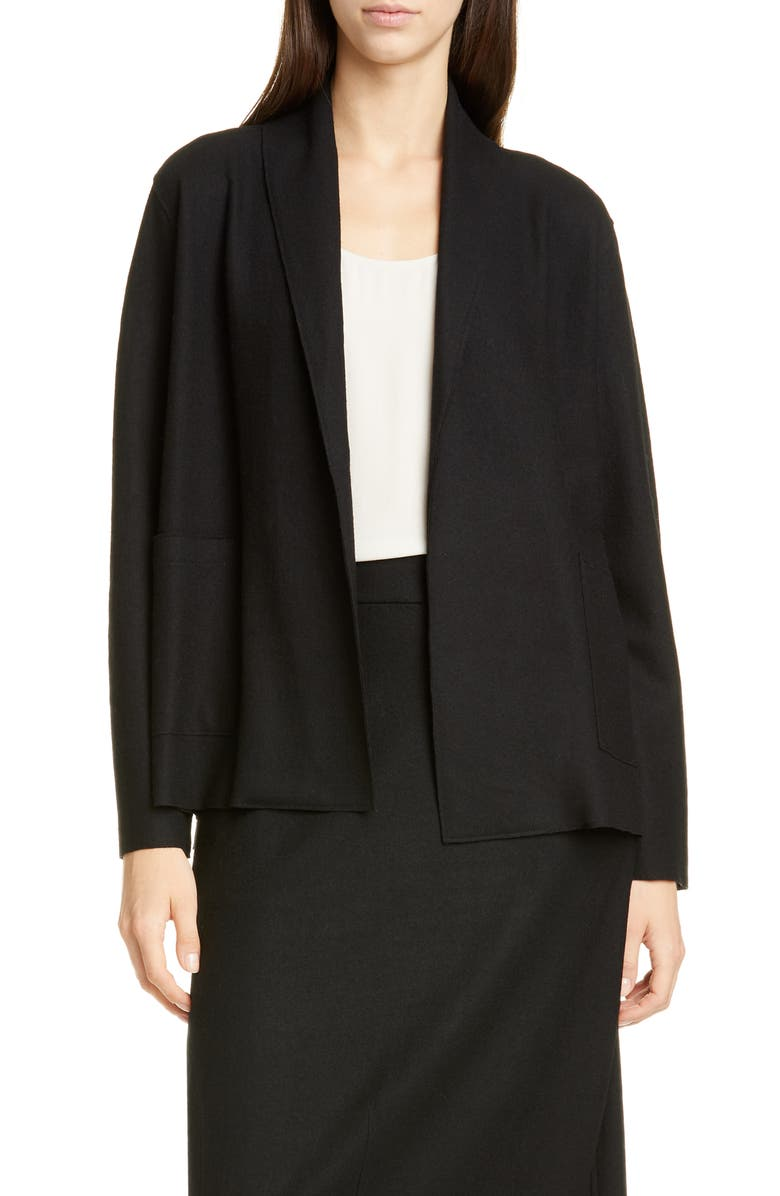 EILEEN FISHER Shawl Collar Short Wool Jacket, Main, color, BLACK