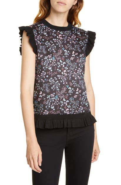 Ted Baker Letino Hazel Ruffle Top In Black