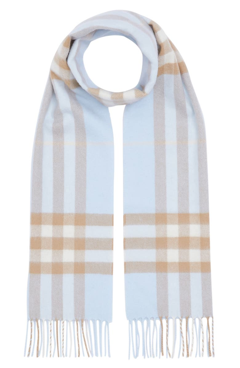 BURBERRY Giant Icon Check Cashmere Scarf, Main, color, PALE BLUE/ ARC BEIGE
