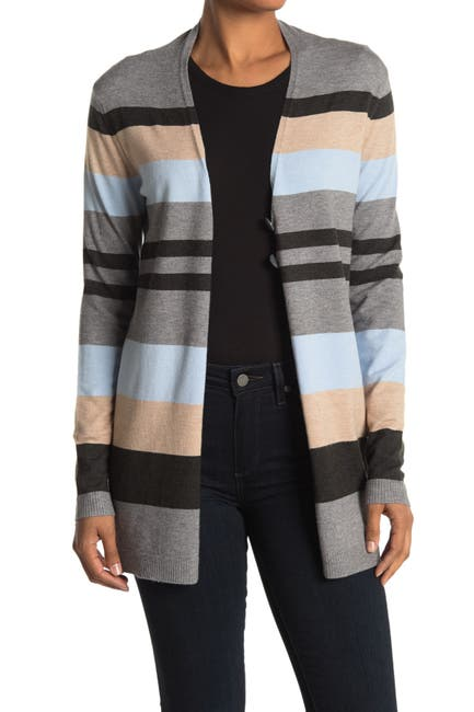 Image of Cyrus Stripe Print Button Front Cardigan