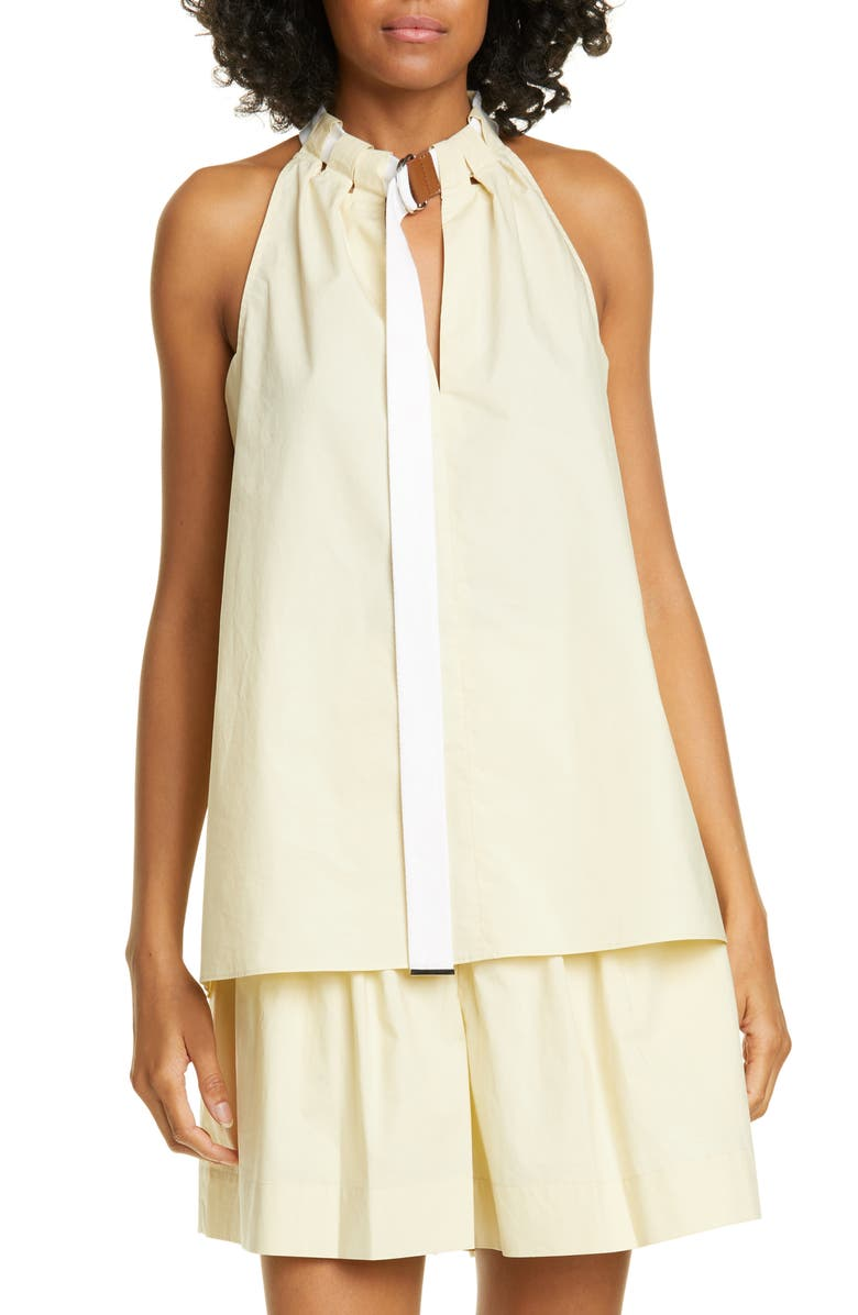 TIBI Tie Neck Poplin Top, Main, color, TAPIOCA