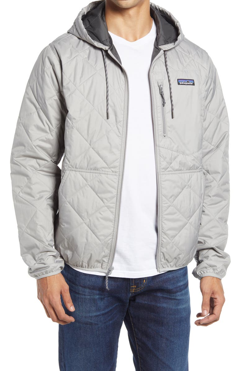PATAGONIA Weather Resistant Thermogreen Insulated Recycled Ripstop Hooded Jacket, Main, color, SGRY SALT GREY