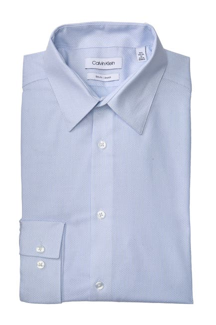Image of Calvin Klein Slim Fit Long Sleeve Water Mill Dress Shirt
